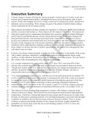 Sample Executive Summary Resume by National Climate Assessment Draft Report Executive Summary