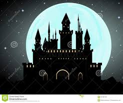Dracula S Castle Halloween Vector Background With Dracula U0027s Castle Full Moon And