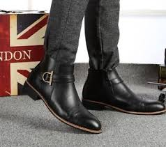 fashion mens short ankle boots dress buckle high top wingtip