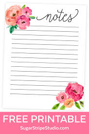 printable planner notes free notes page printable watercolor floral design