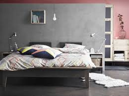 modernes schlafzimmer mit nornAs bettgestell und nornAs modern bedroom design with nornAs bed in grey bedside table and wardrobe in untreated pine plus ikea ps 2014 bed linen