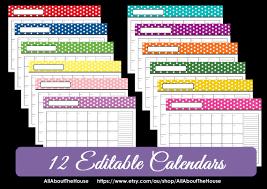 printable calendar 2016 etsy editable 12 polka dot calendars you choose 2015 2016 and