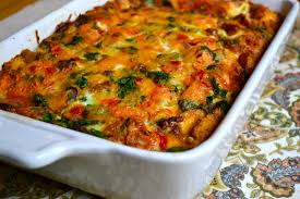 egg and sausage breakfast casserole with spinach and tomatoes