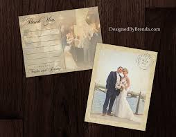 vintage lace overlay wedding thank you postcards with rustic