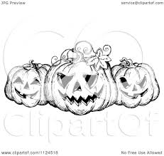 black and white halloween pumpkin clipart clipart of a sketched black and white trio of grinning halloween
