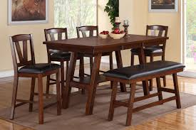 dining room table sets with bench f2273 dining set counter height 6pc in dark walnut by poundex