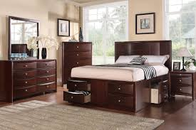 queen bed with shelf headboard bedroom minimalist brown varnished mahogany wood bed frame