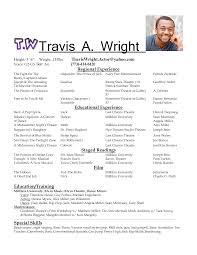 Resume Format Sample Resume by Theatre Acting Sample Resume 4 For With Globe Work Experience
