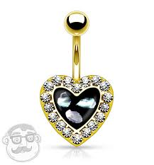golden heart rings images Golden 14g cz heart rim with shell inlay belly button ring jpg