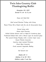 dining menu thanksgiving 2011 isles country club