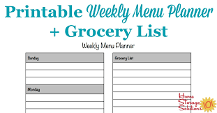 organized home printable menu planner weekly menu and shopping list planner tire driveeasy co