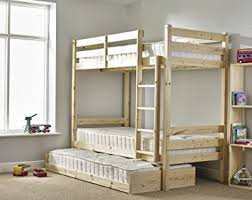 Bunk Bed With Trundle And THREE Mattresses Ft Single Solid Pine - Matresses for bunk beds