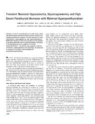transient neonatal hypocalcemia hypomagnesemia and high serum