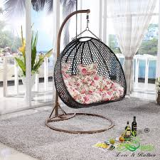 Rattan Swinging Chair Furniture Rattan Hanging Chair With White Pillows Made From
