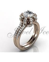 bridal set wedding rings deal on crown engagement ring set 14k gold diamond