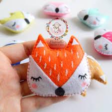 a set of felt fox favors felt fox keychains felt fox charms