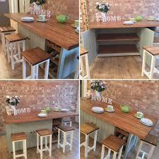 large bespoke handmade solid pine kitchen island breakfast bar