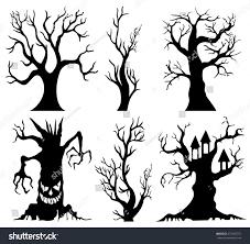 halloween silhouette vector set spooky halloween tree cartoon stock vector 472365757
