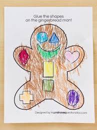 gingerbread man cut and paste preschool activity free printable