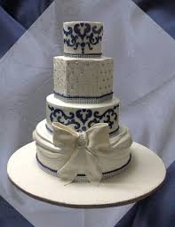 navy blue and white wedding cake cakecentral com