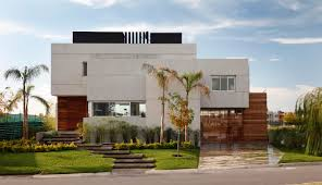 architecture minimalist house exterior design with grey and white