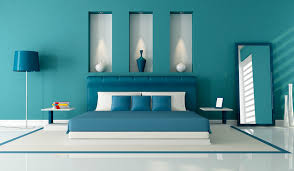 Coastal Inspired Blues With Creamy White  Accent Wall Ideas - Best blue color for bedroom