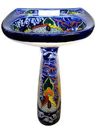 mexican talavera pedestal sink puebla terra artesana mexican talavera pedestal sink puebla