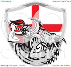 English Flag Tattoos Designs Clipart Of A Knight Spearing A Dragon Over An English Flag Shield