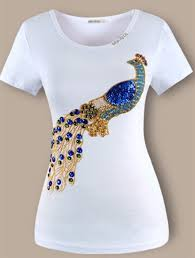 top quality t shirt embroidery peacock hammer bead set auger