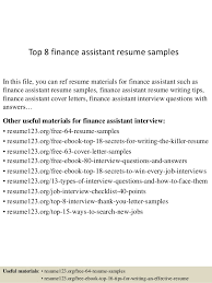 Finance Resume Example by Top 8 Finance Assistant Resume Samples 1 638 Jpg Cb U003d1429945708
