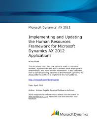 microsoft dynamics ax 2012 implementing and updating hr