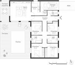 plan de maison de plain pied avec 4 chambres plan de maison plain pied 4 chambres avec garage plan maison en l