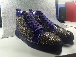 christian louboutin purple color diamond high sneakers christian