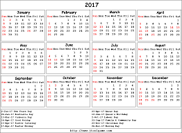 2017 calendar with holidays printable calendar template 2017