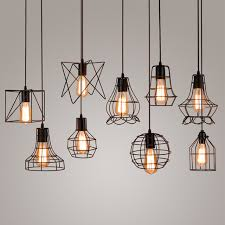 how to hang a pendant light with a cord vintage industrial metal cage pendant light hanging l edison bulb