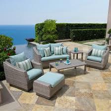 Outdoor Patio Conversation Sets by Cannes 6 Piece Wicker Patio Conversation Furniture Set Blue Target