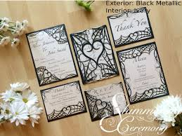 Gothic Spider Web Halloween Wedding Invitation Laser Cut Gatefold