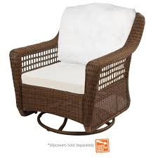 Slipcovers For Patio Furniture Cushions by Hampton Bay Spring Haven Brown Wicker Patio Swivel Rocker Chair