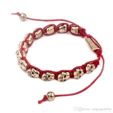 skull bracelet charm images Hot sale new fashion leather lady women bracelet red cord gold jpg