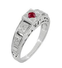 Ruby Wedding Rings by Art Deco Engraved Ruby Engagement Ring In Platinum Simple Low