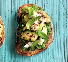 courgette cuisine peas on toast with courgette feta and mint healthy food guide