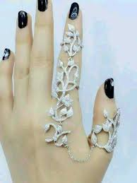 crystal chain rings images Luxury hot aaa zircon 925 sterling silver finger link chain ring jpg