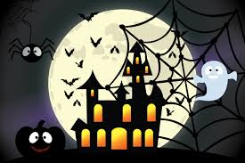 halloween backdrop scary scene dark forest black trees fall