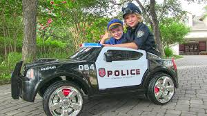 toddler motorized car ride on police car for kids unboxing review and riding dodge