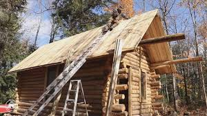wood cabin canadian builds impressive log cabin by himself in time lapse