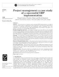 how to write a paper on a case study project management a case study of a successful erp project management a case study of a successful erp implementation pdf download available