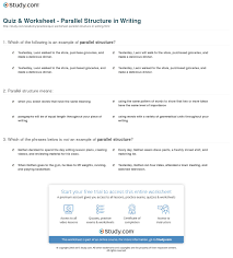 parallel structure worksheet with answers 28 templates
