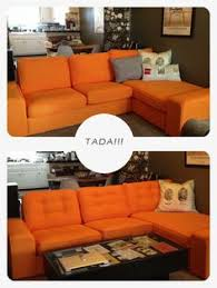 Orange Ikea Sofa by Diy How To Tuft Button Your Ikea Karlstad Cushions Sofa