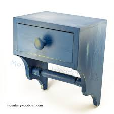 toilet tissue paper holder with convenience drawer distressed