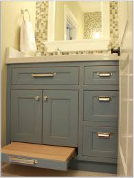 Contemporary Bathroom Storage Cabinets Black Wood Two Open Door Panels Cabinet Vanity Oval Sink In